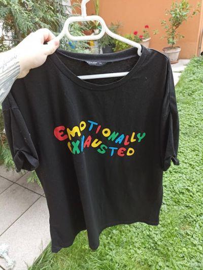 "Dámské triko ""emotionall exhausted"" shein"
