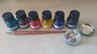 Sada malovacích tuší, pero a hroty